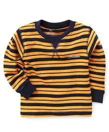 Smarty Full Sleeves Winter Wear Stripes T-Shirt Awesome Print - Yellow Navy