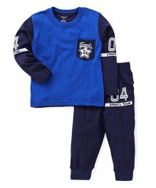 Smarty Full Sleeves Tee & Lounge Pant Sports Team Print - Royal & Navy Blue