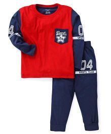Smarty Full Sleeves Tee & Lounge Pant Sports Team Print - Red & Navy Blue