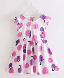 Funky Baby Flutter Sleeves Shift Dress Penguin Print  - White Pink Purple