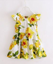 Funky Baby Flutter Sleeves Floral Shift Dress - White Yellow