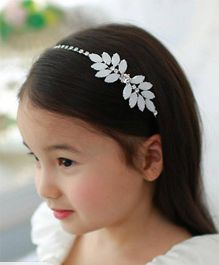 Funky Baby Sparkly Pearls And Leaves Hairband - White