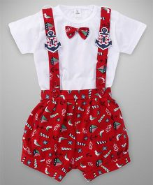 ToffyHouse Dungarees With T-Shirt Anchor Patch - Red White