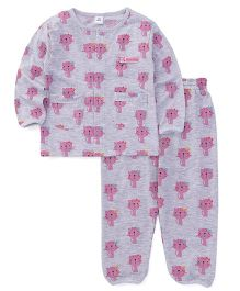 ToffyHouse Full Sleeves Night Suit Kitty Print - Grey Pink