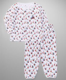 ToffyHouse Full Sleeves Night Suit Bunny Print - White