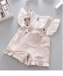 Pre Order - Awabox Striped Top & Dungarees - Beige