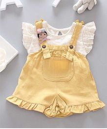 Pre Order - Awabox Striped Top & Dungarees - Yellow