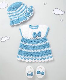 The Original Knit Bow Design Dress & Cap With Booties - Ice Blue & White