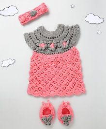 The Original Knit Flower Design Dress With Headband & Booties - Rose Pink & Grey