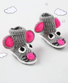 The Original Knit Cute Mouse Design Booties - Grey