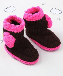 The Original Knit Flower Design Booties - Brown