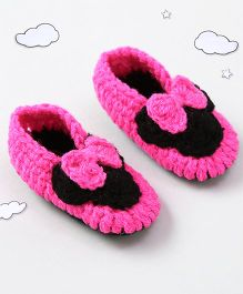 The Original Knit Design Bow Design Booties - Pink & Black