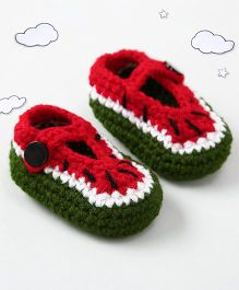 The Original Knit Watermelon Design Booties - Red
