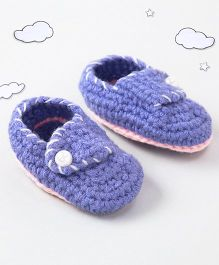The Original Knit Cute Booties With Pearl Button - Lavender