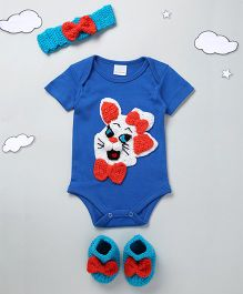 The Original Knit Cute Cat Design Onesie With Headband & Booties - Blue