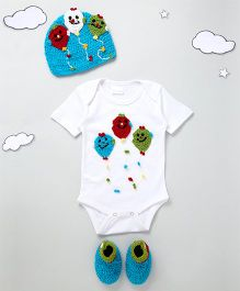 The Original Knit Three Balloon Design Onesie With Cap & Booties - White & Blue
