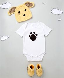 The Original Knit Cute Dog Design Onesie With Cap & Booties - White