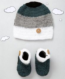 The Original Knit Button Design Cap & Booties Set - Grey & Off White