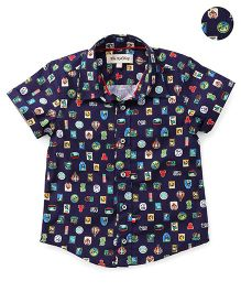The KidShop Parachute & Flag Print Shirt - Blue