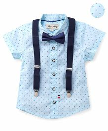 The KidShop Classic Printed Shirt With Suspender & Bow - Blue