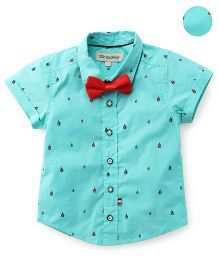 The KidShop Ships Print Shirt With Bow - Green