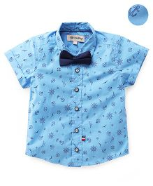 The KidShop Classic Anchor Print Shirt With Suspender - Blue