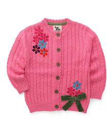 Yellow Apple Full Sleeves Cardigan Floral Embroidery & Bow Applique - Pink