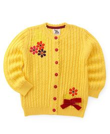Yellow Apple Full Sleeves Cardigan Floral Embroidery & Bow Applique - Yellow