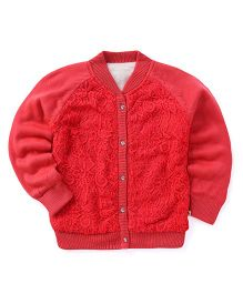 Yellow Apple Full Sleeves Cardigan Self Design - Coral Red