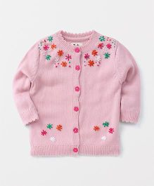 Yellow Apple Full Sleeves Cardigan Flower Embroidery - Pink