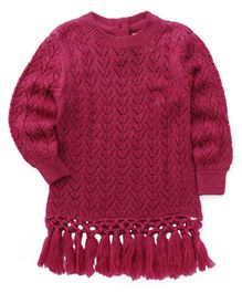 Yellow Apple Full Sleeves Pullovers With Fringes - Dark Pink
