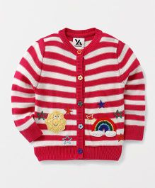Yellow Apple Striped Full Sleeves Cardigan Rainbow & Star Embroidery - Dark Pink