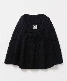 Yellow Apple Woollen Poncho Cable Knit Design - Black
