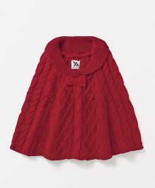 Yellow Apple Woollen Poncho Cable Knit Design - Maroon