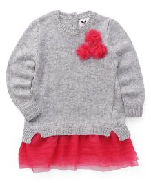 Yellow Apple Full Sleeves Pullover Sweater Flower Applique - Grey Coral
