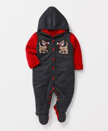 Yellow Apple Full Sleeves Hooded Winter Wear Romper - Dark Grey & Red