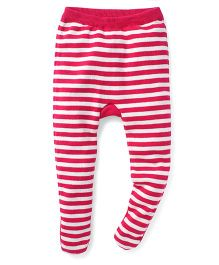 Yellow Apple Striped Footed Diaper Leggings - Pink