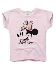 Fox Baby Half Sleeves T-Shirt Minnie Mouse Print - Light Pink