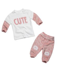 Fox Baby Winter Wear Doctor Sleeves T-Shirt And Lounge Pant - White Pink