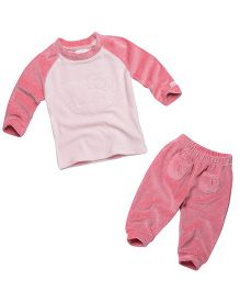 Fox Baby Winter Wear Raglan Sleeves Top And Lounge Pant Kitty Embroidery - Pink
