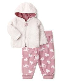 Fox Baby Full Sleeves Hooded Jacket With lounge Pant Winter Wear Suits Animal Design - Pink & White