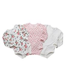 Fox Baby Full Sleeves Onesies Pack of 3 - White Pink