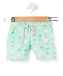 Pikaboo Shorts Tea Cup Print - Green