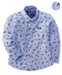 Jash Kids Full Sleeves Shirt Bird Print - Sky Blue