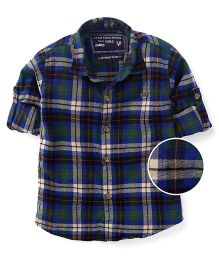 Jash Kids Full Sleeves Checks Shirt - Green Navy
