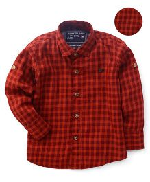 Jash Kids Full Sleeves Shirt Checks Pattern - Rust Red