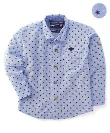 Jash Kids Full Sleeves Shirt Star Print - Sky Blue