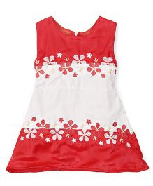 Tiny Toddler Pretty Floral Embroidery Tulle Dress - Red