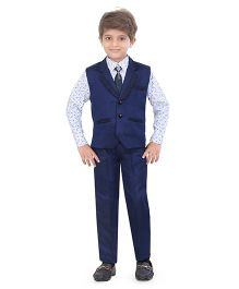 Jeet Ethnics Party Wear Waistcoat Set - Navy White