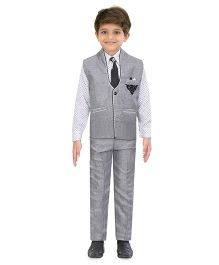 Jeet Ethnics Party Wear Waistcoat Set - Grey White